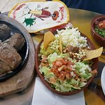 Great Mexican food, reasonable prices, generous portions, plenty of seating indoors or out, frie