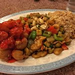 Peking pork, Kung pao chicken and rice. So much food!