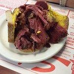 Smoked meat sandwich at Schwartz's