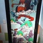 the funky art on the rest room door...Interior!