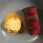 Chocolate and ale cake, salted caramel ice cream, gingerbread crumb