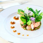 Poached LANGOUSTINES, salads, vegetables and flowers