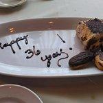 Surprise anniversary dessert on the house
