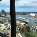 View of the Sydney harbour of both bridge and opera house, take n from a harbour view room.