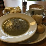Cauliflower soup and Cheese scones plus latte