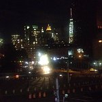 Night time view, from the... WINDOW SEAT!, of the magnificent Manhattan Bridge Arch and Colonnad