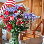 Front Desk, beautiful 4th of July flowers