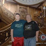 My Son and I at Titanic's Grand Staircase