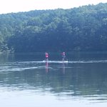 Two family members enjoy the free paddle boards.