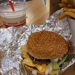 Burger, chips and a shake.