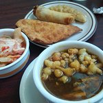 Hot n Sour Soup, Kimchi, Crab Rangoon, Egg Roll and Dumpling