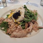 Smokes fish sald, with poached egg and caviar