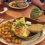 Lobster & Bri omelette , bacon burger in the backgound lol food was AMAZING