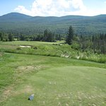 Awesome par 3 205 yards downhill, perfect 5 hybrid shot.