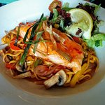 Sweet Chilli Salmon, Noodles, Stir Fried Vegetables