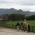 View from barn area while pony ride going on.