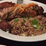 Salmon, coconut shrimp and jerk chicken! Excellent dishes