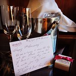 Champagne and chocolates sent to our room. Thanks, Kevin!