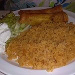 Flauta's with Huge pile of Rice