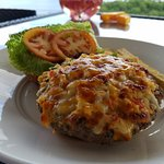 Burger with cheese and crab.