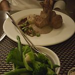 Veal and a steamed vegetable side