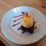 Chocolate Brownie with Ice Cream & Caramel Sauce