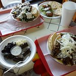 2 Gyro Plates, stuffed grape leaves app, falafel app