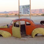 Old Car and Sign, Solitaire Country Lodge, Namibia