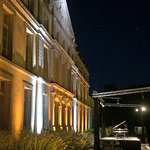 The stage set for a concert in in International Piano series, at the Chateau de Pennautier