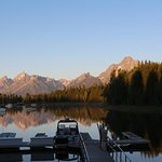 View of Grand Teton early morning from the harbor. (Temperature in July 37°F at 6am)