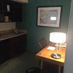 Work desk and little wet bar area