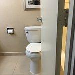 Poor planning! Open bathroom door bumps toilet & blocks tub/shower.