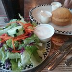 Fresh crisp salad with hot cornbread