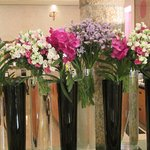 Beautiful flower display in foyer of hotel