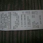Receipt From Restuarant Attached to Hotel Mediterraneo