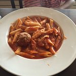 Lobster and crab ravioli in vodka sauce and penne with marinara and meatball.