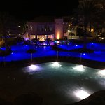 Night view of the pool areas from 3rd floor balcony.