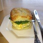 Veggie-Eggie sandwich on homemade tea biscuit