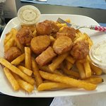 Scallops and fish and chips