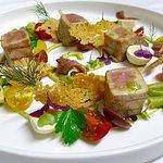 Tuna fillet | Nicoise salad | Pickled quail egg | guacamole