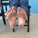 What my feet looked like AFTER I swept the entire floor in the unit. GROSS!