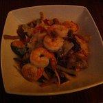 """Squash """"noodles"""" with shrimp and bacon lardons"""