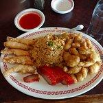 #6 Fried Sh rimp, BBQ Pork, Pork Fried Rice, Ma Far Chicken