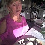 My wife's dessert, chocolate pecan pie with vanilla ice cream