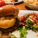 Classic Burger - 6oz irish beef with a crispy onion ring, brie, served in a brioche bun