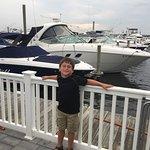 My grandson enjoying the boats!