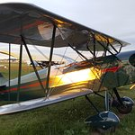 Gorgeous biplane in mint condition reflecting the evening sun.