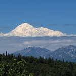 The view of Mt Denali from the back porch of the lodge just after the clouds cleared.