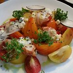 Heirloom tomato salad with lobster. Summer on a plate.