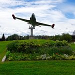 Garden and Plane in City Park Honoring Military Service, Near Hotel